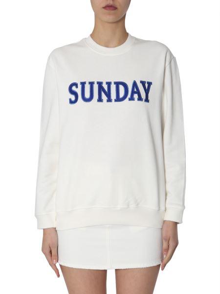 "Alberta Ferretti - Cotton Sweatshirt With ""sunday"" Embroidery"