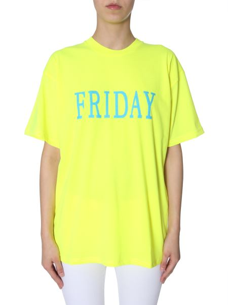 "Alberta Ferretti -  sequin-embellished ""friday"" Cotton Oversized T-shirt"