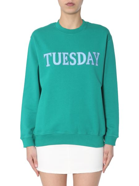 "Alberta Ferretti - Cotton Sweatshirt With ""tuesday"" Embroidery"
