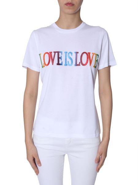"""Alberta Ferretti - Embroidery-""""love Is Love"""" Cotton Slim T-shirt"""