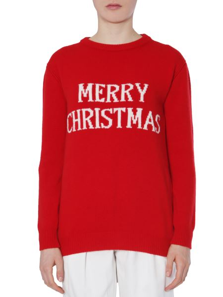 "Alberta Ferretti - ""merry Christmas"" Wool And Cashmere Sweater"