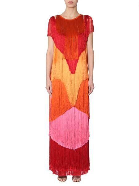 Alberta Ferretti - Long Dress In Chiffon Degradé With Fringes