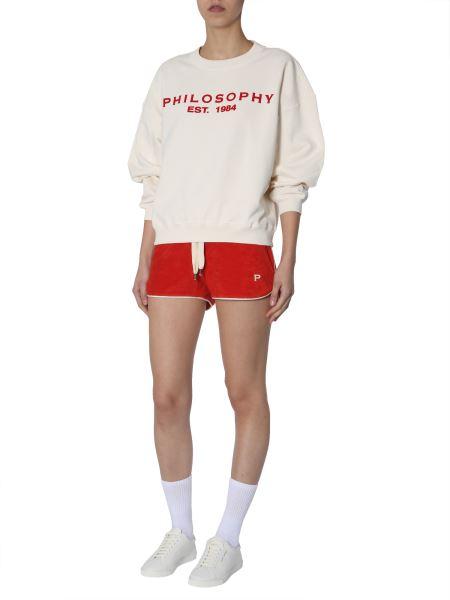 Philosophy Di Lorenzo Serafini - Cotton Crew Neck Sweatshirt With Flocked Logo Print