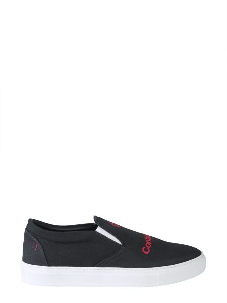 Marcelo Burlon County Of Milan - Confidencial Canvas And Leather Slip-ons
