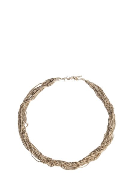 Saint Laurent - Loulou Close-fitting Necklace With Interwoven Brass Chains