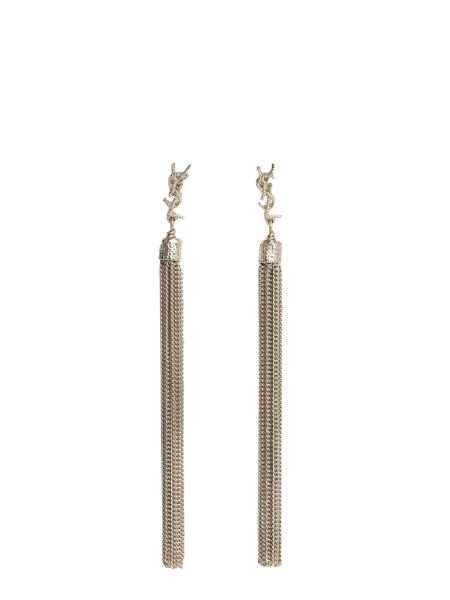 Saint Laurent - Loulou Earrings With Brass Chain Tassels