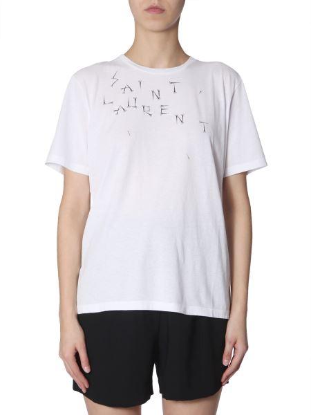 Saint Laurent - Cotton Crew Neck T-shirt With Saint Laurent Nail Print
