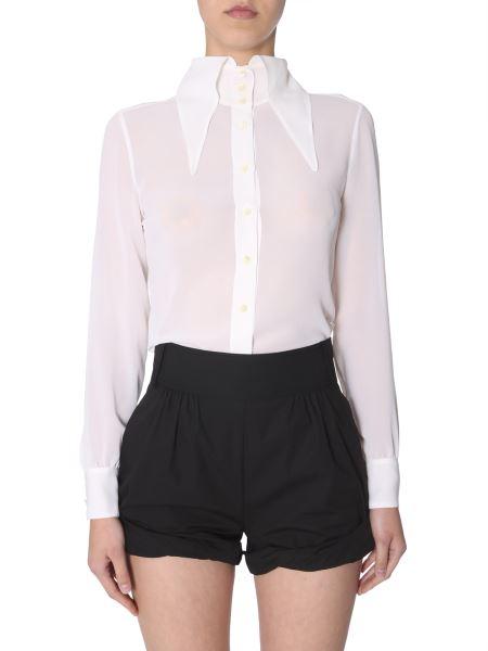 Saint Laurent - Camicia Colletto Oversize In Georgette Di Seta