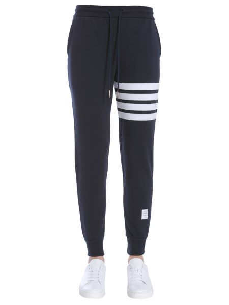Thom Browne - Cotton Fleece Trousers With Striped Details