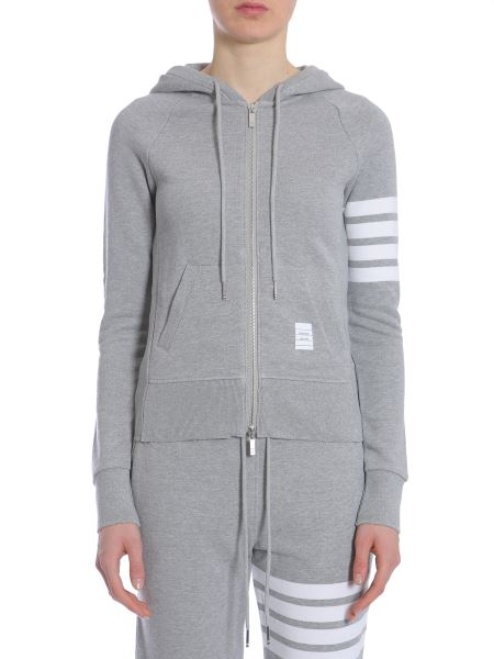 Thom Browne - Cotton Hooded Zip-up Sweatshirt With Striped Detail