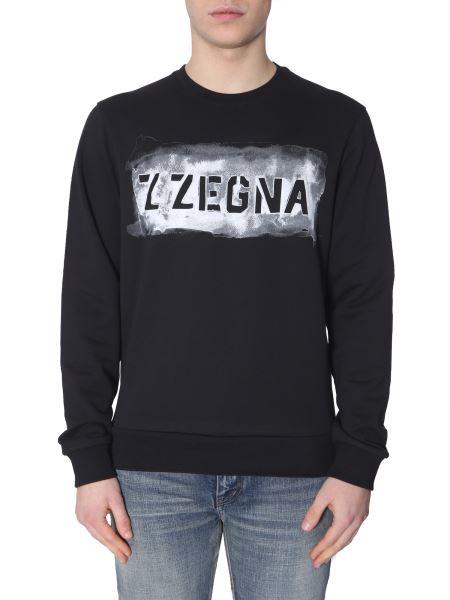 Z Zegna - Crew Neck Sweatshirt With Logo Print