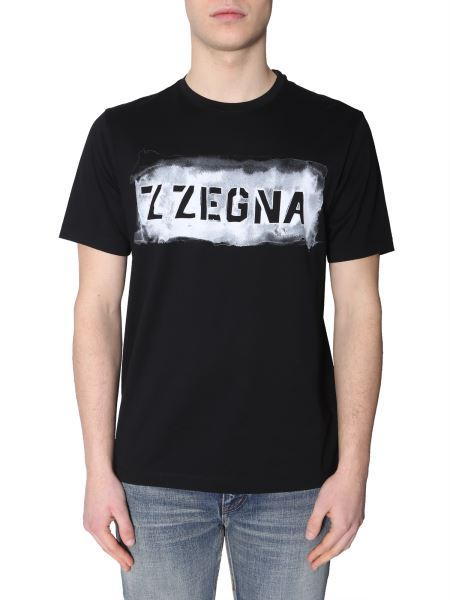 Z Zegna - Crew Neck T-shirt With Logo Print