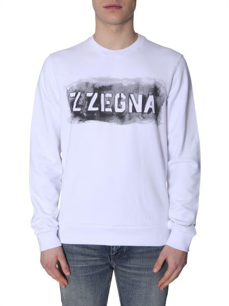Z Zegna - Felpa Girocollo Con Stampa Logo