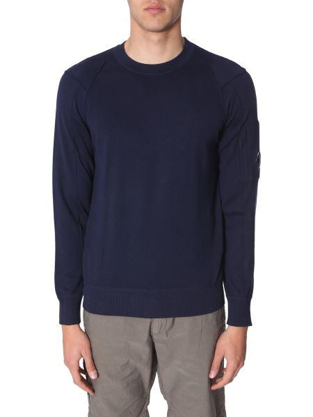C.p. Company - Crew Neck Cotton Sweater With Iconic Lens