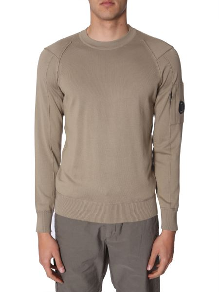 C.p. Company - Crew Neck Cotton Sweater With Iconic Lens