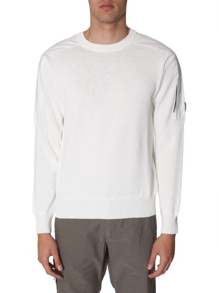 C.p. Company - Crew Neck Cotton Sweater With Pocket And Iconic Lens