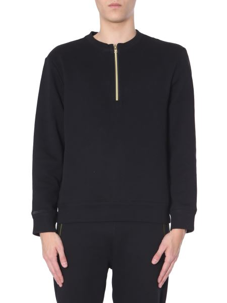 Versace Collection - Felpa Girocollo In Cotone Con Banda Laminata Logo