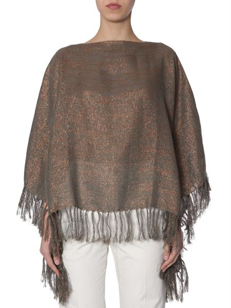 Brunello Cucinelli - Poncho Short In Canvas Of Lama Linen