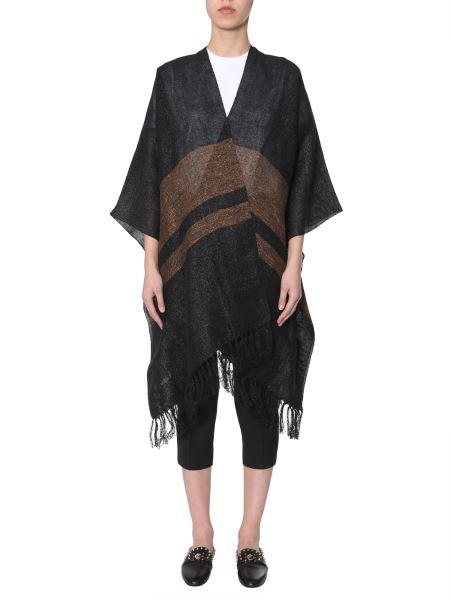 Brunello Cucinelli - Poncho In Canvas Of Linen With Contrasting Band