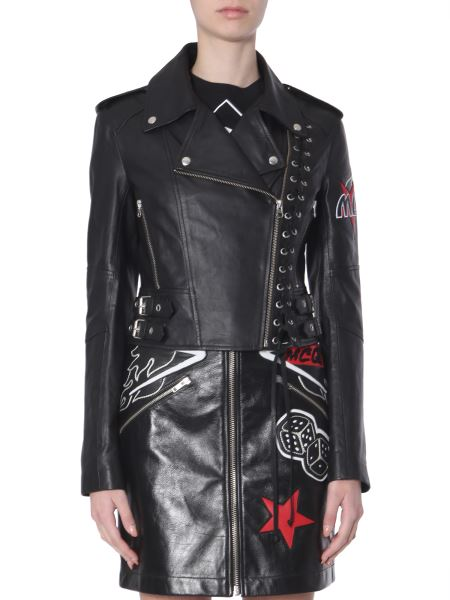 Mcq Alexander Mcqueen - Leather Biker Jacket With Patches