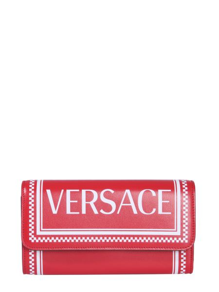 Versace - Leather Wallet With Logo Print