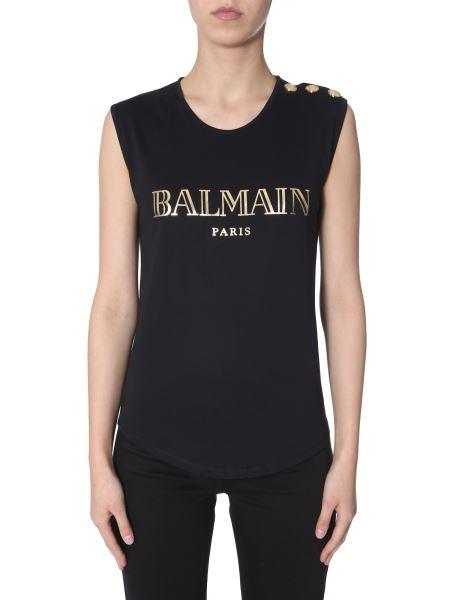 Balmain - Button-embellished Logo-print Top