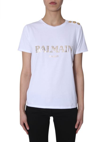 Balmain - Logo-print Buttoned T-shirt