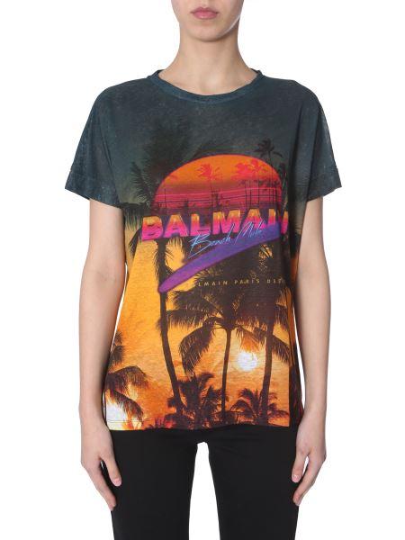 Balmain - T-shirt In Lino Con Stampa Tropicale