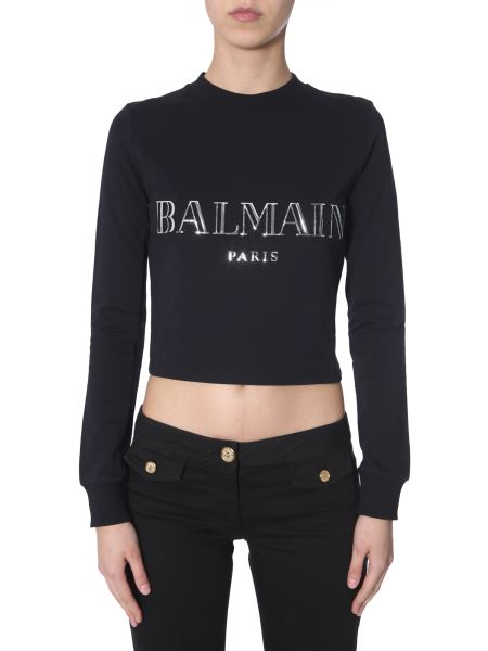 Balmain - Metallic-gold Logo-print Cotton High-neck Sweatshirt