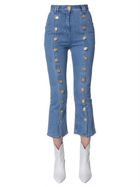 Balmain - Button-embellished Cotton-denim Jeans