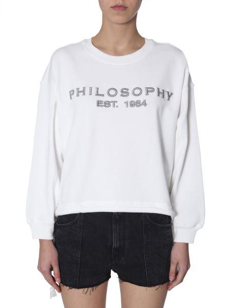 Philosophy Di Lorenzo Serafini - Lurex Logo-embrodery Cotton Drawstring-hem Sweatshirt