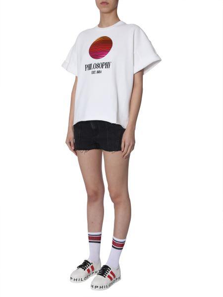 Philosophy Di Lorenzo Serafini - Embroidered-logo Short-sleeved Cotton Sweatshirt