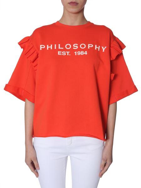 Philosophy Di Lorenzo Serafini -   Ruched Logo-print-cotton Crewneck Sweatshirt