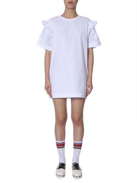 Philosophy Di Lorenzo Serafini - Ruffled Logo-embroidery Cotton-poplin Dress