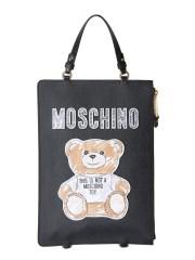 MOSCHINO - ZAINO CLUTCH CON BRUSHSTROKE TEDDY BEAR
