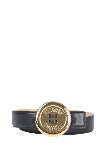Moschino - Leather Belt With Moschino Button Buckle