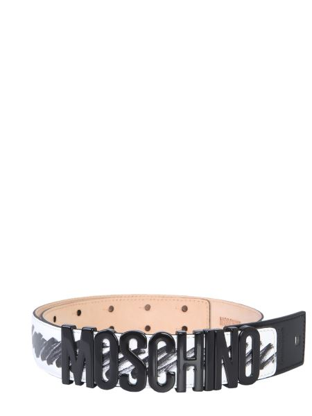 Moschino - Leather Belt With Lettering Logo And Brushstroke Print