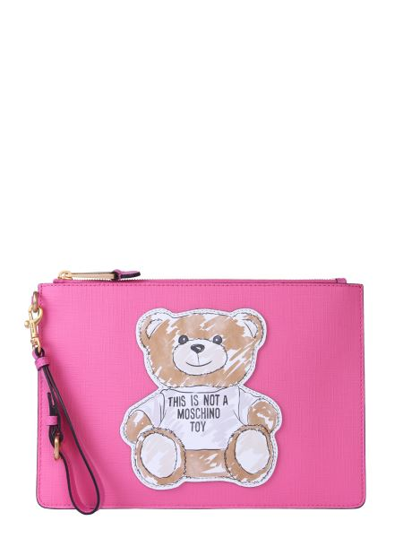 Moschino - Clutch In Nappa Brushtroke Teddy Bear Con Zip