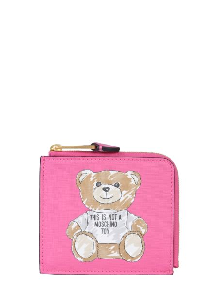 Moschino - Zip Around Nappa Wallet With Brushstroke Teddy Bear