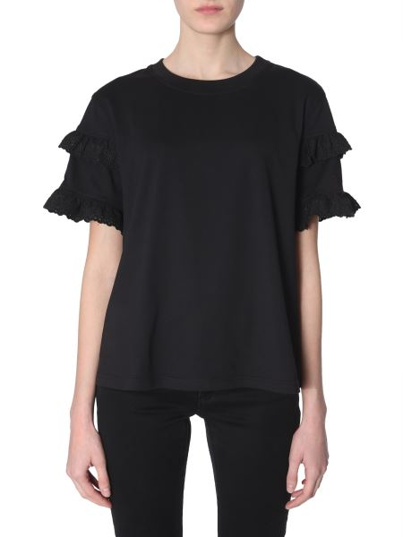 Mcq Alexander Mcqueen - Broderie-anglaise Ruffled-sleeve Cotton T-shirt