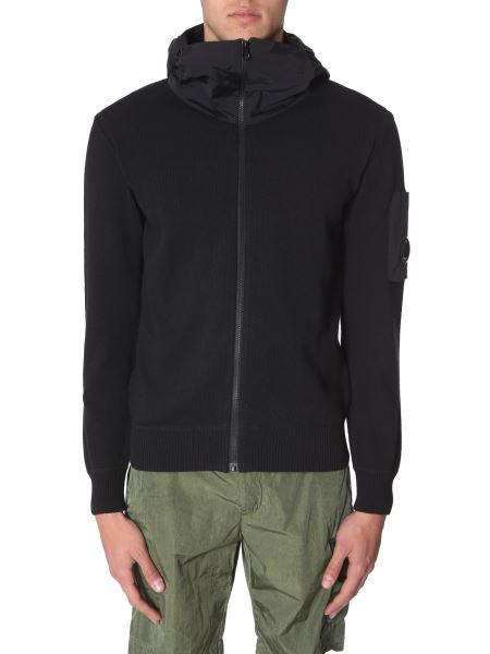 C.p. Company - Cotton Hooded Sweater In Technical Fabric