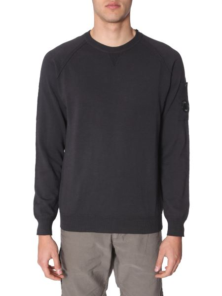 C.p. Company - Cotton Mixed Cotton Sweater With Iconic Lens