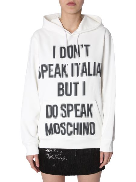 Moschino - Cotton Hooded Sweatshirt With Slogan Pixel Print
