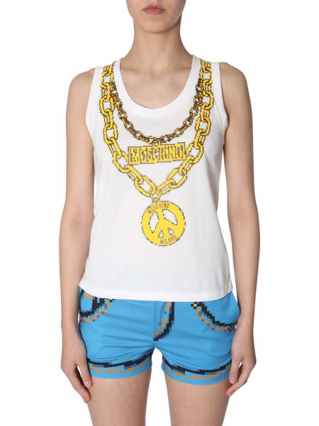 Moschino - Cotton Top With Pixel Chains Print