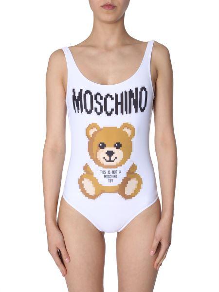 Moschino - Costume Intero Con Stampa Teddy Bear Pixel