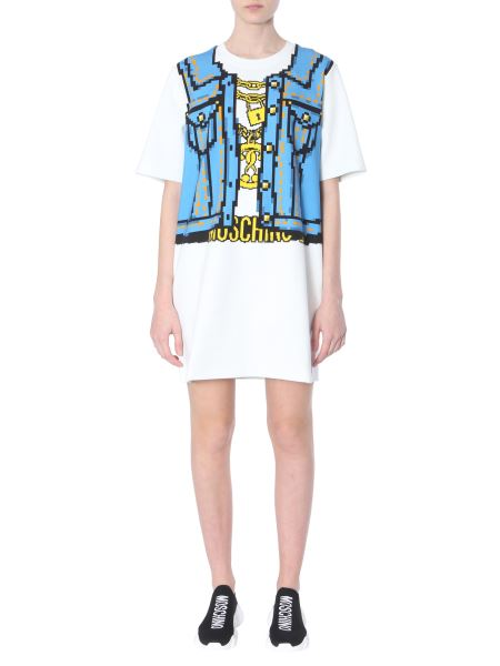 Moschino - Cotton Sweatshirt Dress With Pixel Print