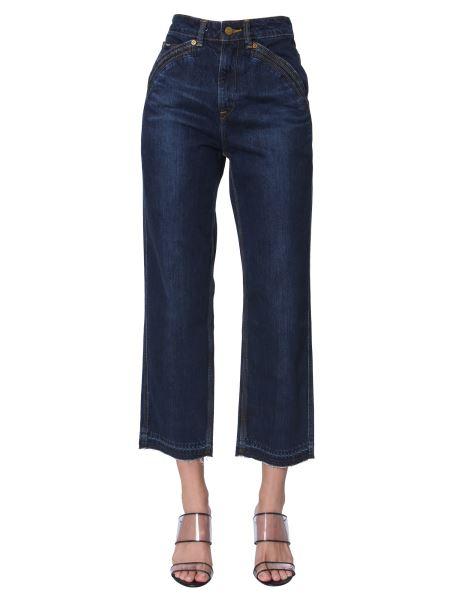 Self-portrait - Cropped Jeans In Cotton Denim