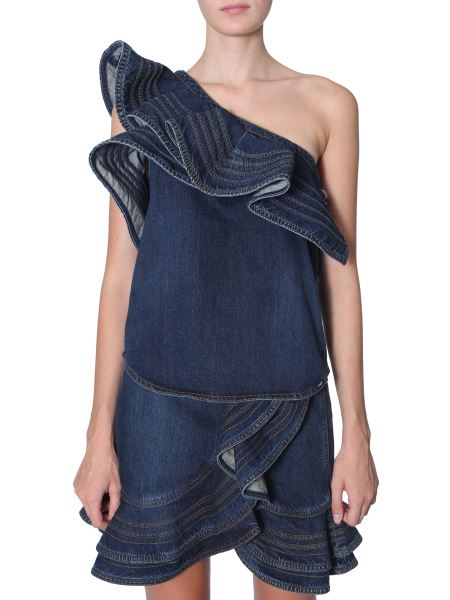 Self-portrait - Top In Denim Di Cotone Con Balza