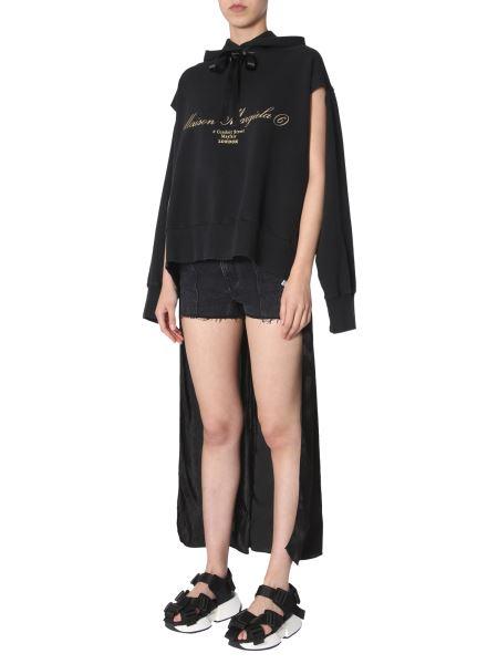 Mm6 Maison Margiela - Hooded Cotton Sweatshirt With Satin Dress