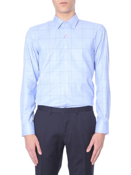 "Hugo - ""kenno"" Cotton Oxford Shirt With Squares"